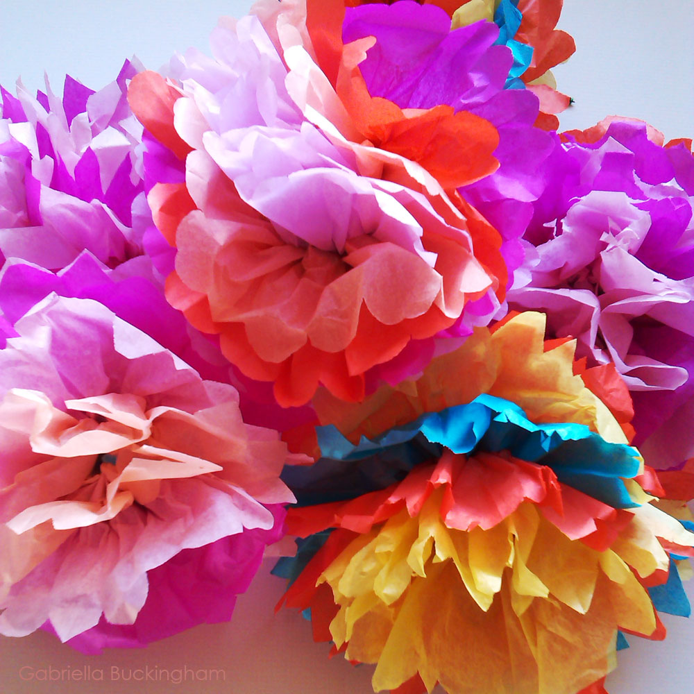 Making tissue paper flowers at gressenhall ink paint paper for Painted paper flowers